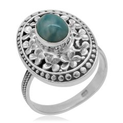 BALI LEGACY COLLECTION LARIMAR 9 (Ovl) RING IN STERLING SILVER NICKEL FREE (SIZE 7) TGW 1.440 Cts.