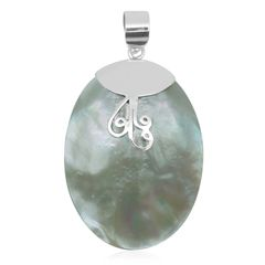 BALI LEGACY COLLECTION MOTHER OF PEARL (Ovl) PENDANT WITH 18 IN STERLING SILVER CHAIN IN STERLING SILVER NICKEL FREE TGW 35.55Cts.