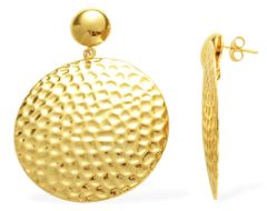 ION PLATED YELLOW GOLD EARRINGS IN STAINLESS STEEL .