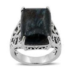 MALAGASY BLACK LABRADORITE RING IN SILVERTONE (SIZE 7) TGW 13.97 Cts.