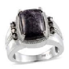 LEPIDOLITE (CUSH 6.65 Ct), THAI BLACK SPINEL RING IN STAINLESS STEEL (SIZE 7) TGW 7.15 Cts.