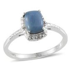 PERUVIAN BLUE OPAL (CUSH 1.50Ct), WHITE TOPAZ RING IN PLATINUM OVERLAY STERLING SILVER NICKEL FREE (SIZE 7).