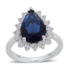 BLUE GLASS (PEAR) SIMULATED DIAMOND RING IN STERLING SILVER NICKEL FREE (SIZE 7) TGW 5.000Cts.
