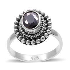 BALI LEGACY COLLECTION SIMULATED BLACK DIAMOND (Ovl) RING IN STERLING SILVER NICKEL FREE (SIZE 7) TGW 2.010 Cts.