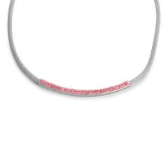 Pink Austrian Crystal Necklace (18 in) in Stainless Steel 1