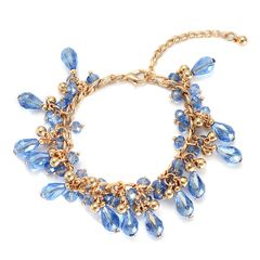 BLUE GLASS BRACELET IN GOLD-TONE (7.5 In) TGW 2.000Cts.