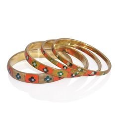 MULTI COLOR RESIN SET OF 4 BANGLE IN GOLD-TONE.