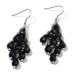 BLACK GLASS EARRINGS IN SILVER TONE.