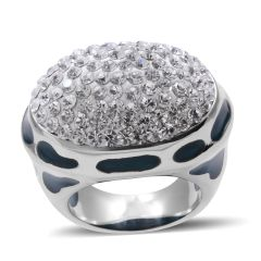 WHITE AUSTRIAN CRYSTAL RING IN STAINLESS STEEL (SIZE 6) A10343