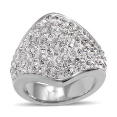 WHITE AUSTRIAN CRYSTAL RING IN STAINLESS STEEL ( SIZE 6). A 10346