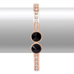 BLACK GLASS, WHITE AUSTRIAN CRYSTAL BANGLE IN GOLD TONE (7.5 In) A 10312