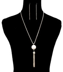 Gold Metal Long Necklace Set With Bold Cream Pearl And Dropping Tassel Chain. Lobster Clasp Closure. A10447