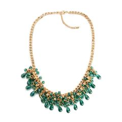 GREEN GLASS NECKLACE (20 IN) IN GOLDTONE A 10456