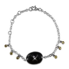 ARTISAN CRAFTED BLACK AGATE (OVAL 10.10 CT), SIMULATED YELLOW SAPPHIRE BRACELET IN STAINLESS STEEL (7.5 IN). A 10460