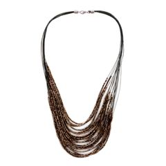 BRONZE SEED BEAD NECKLACE (20 IN) AND EARRINGS IN STAINLESS STEEL. A 10463