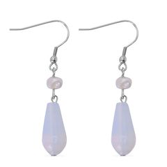 OPALITE, FRESHWATER PEARL - WHITE EARRINGS IN STAINLESS STEEL. A 10468
