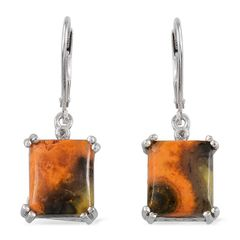 Bumble Bee Jasper (Bgt), Diamond Lever Back Earrings in Platinum Overlay Sterling Silver A 10486