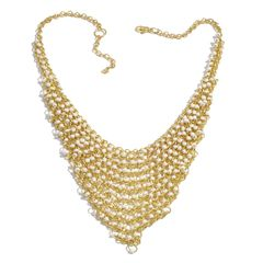 Glass Beads Necklace in Gold-tone A 10487