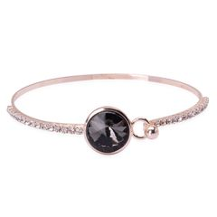 Grey Glass, White Austrian Crystal Bangle in Rose-tone (7.5 in) A 10489