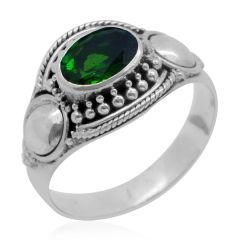 Bali Legacy Collection Russian Diopside (Ovl) Ring in Sterling Silver Nickel Free (Size 7) A 10496