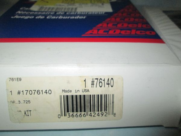 76140 AC DELCO VANDURA CARGO VAN 4.3L CARBURETOR REBUILDING KIT GMC NEW