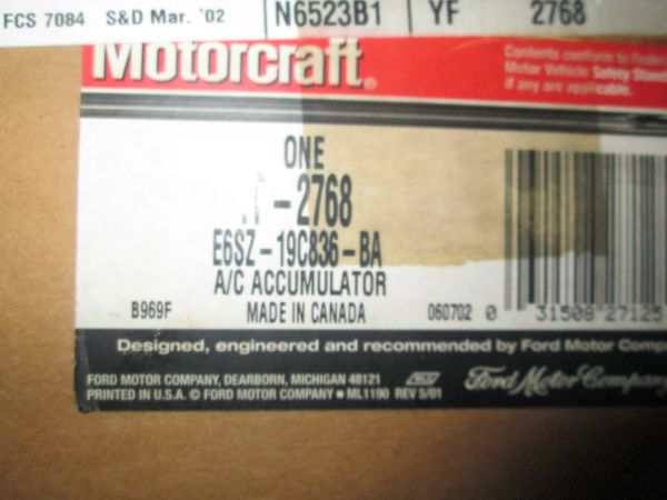YF-2768 MOTORCRAFT MUSTANG CAPRI COUGAR T-BIRD AC REFRIGERANT SUCTION HOSE NEW