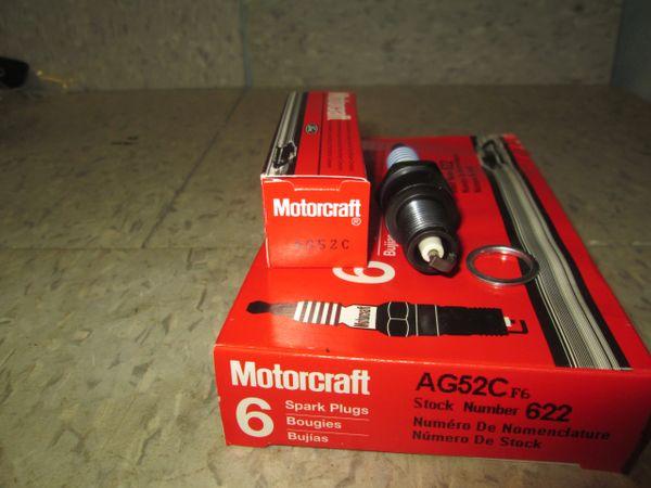 AG52C MOTORCRAFT SPARK PLUGS VINTAGE SET OF 6 MOTORCRAFT SPARK PLUGS NEW