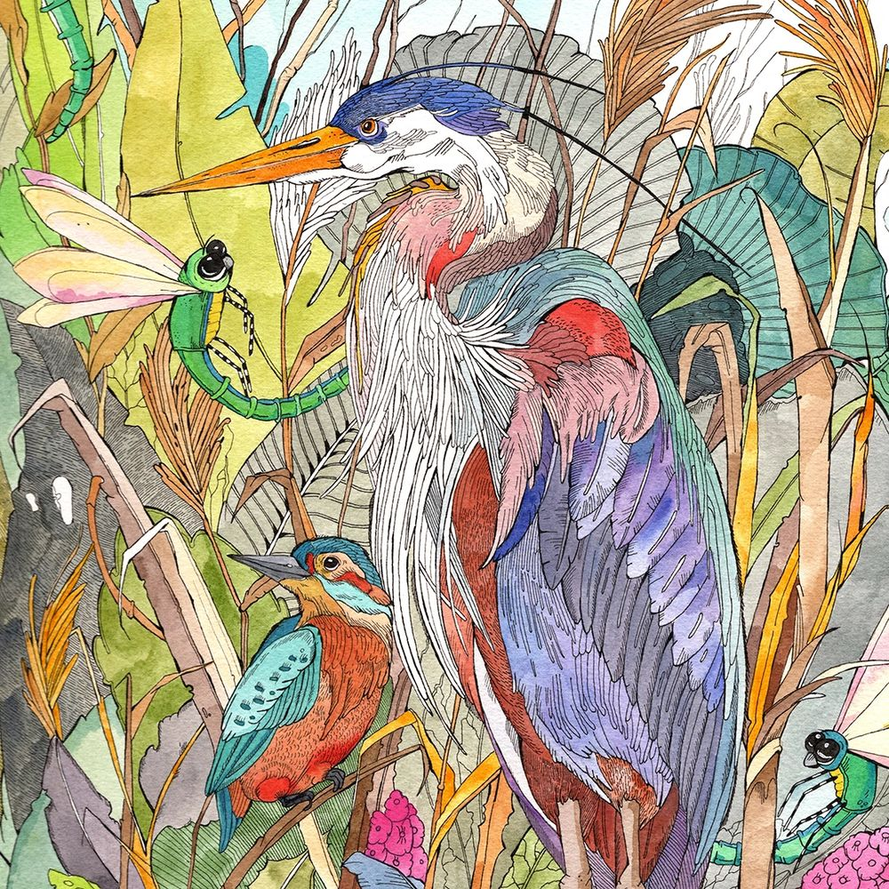 Blue Heron and Kingfisher Bird watercolor painting by Kinga Martin, Kingarooart