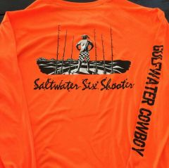 GWC Safety Orange Saltwater Six Shooter Logo Dri Fit Long Sleeve