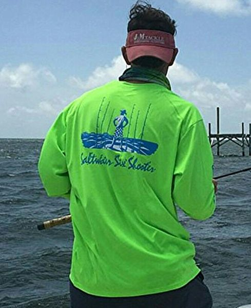 GWC Lime Saltwater Six Shooter Logo Dri Fit Long Sleeve