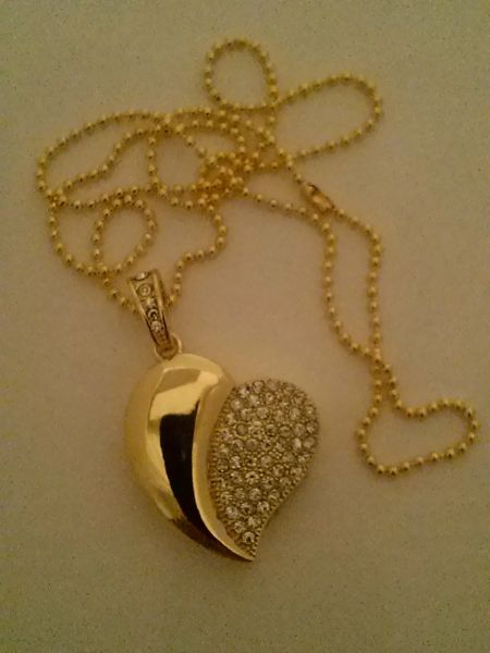 Ladies Half Sequin Gold Heart Pendant