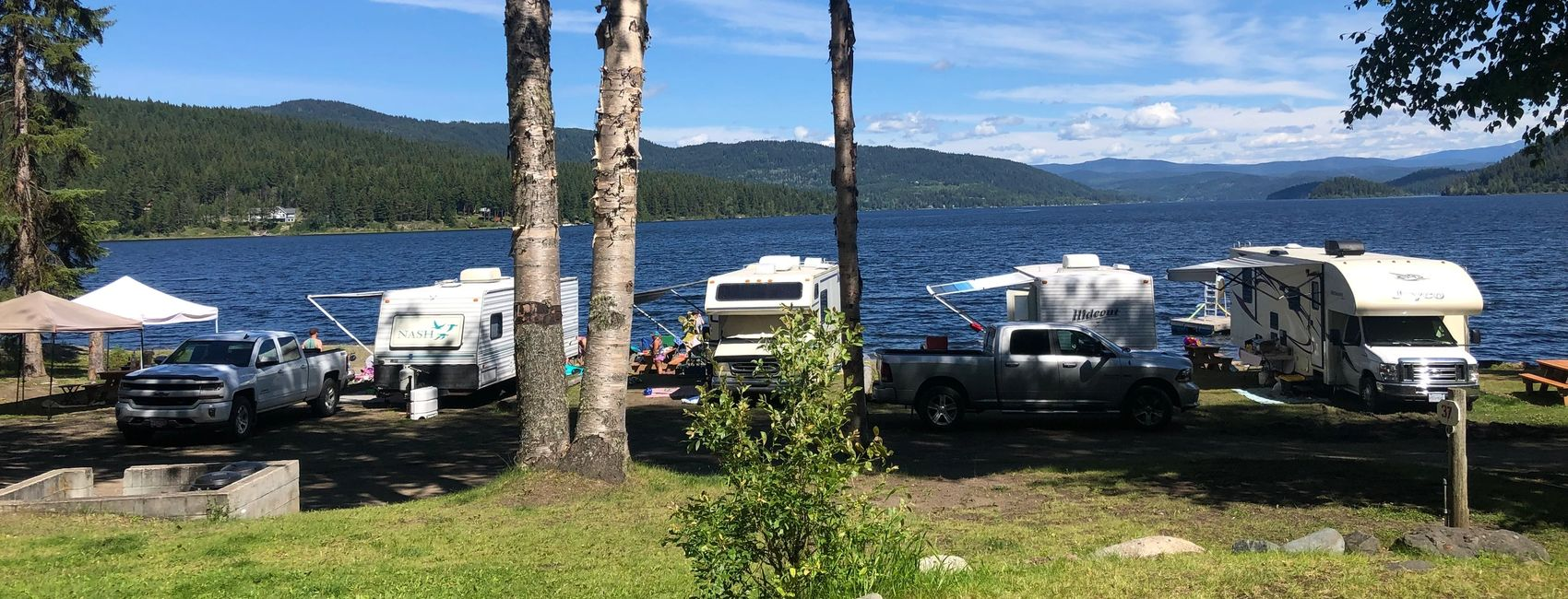 Camping and RV sites on Canim Lake, British Columbia.