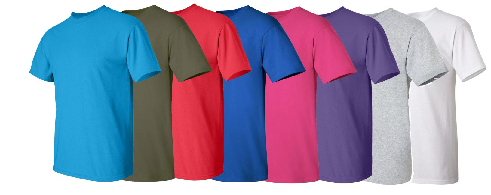 Different, blank, plain color t-shirts in various colors.