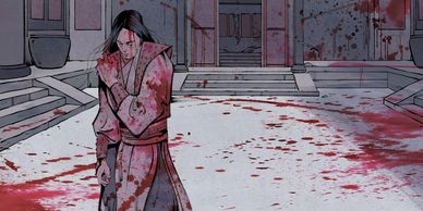 Interior art from Righteous Blood Ruthless Blades featuring a blood-stained martial artist walking a