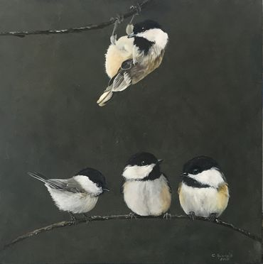 "Chickadees, 2019, Oil on Board, 10""x10"""