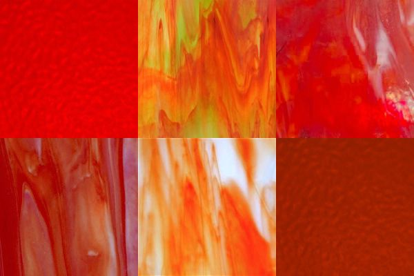 Buy Stained Glass Sheets.6 Sheet Red Orange Variety 8 X5 Or 8 X10