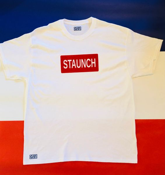 "The ""Staunch"" Red Block White T-Shirt"