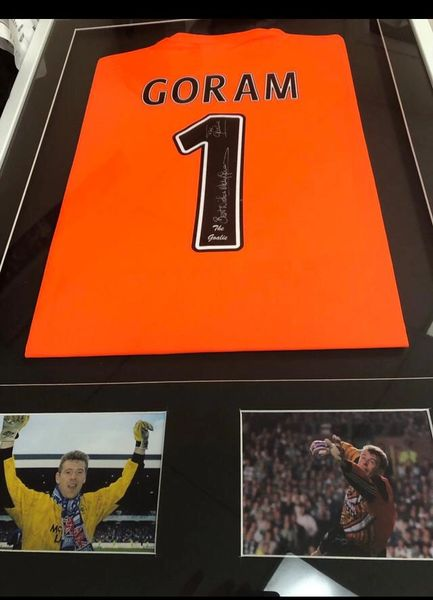Signed Andy Goram Top. Unframed OR Framed including 2 action photographs
