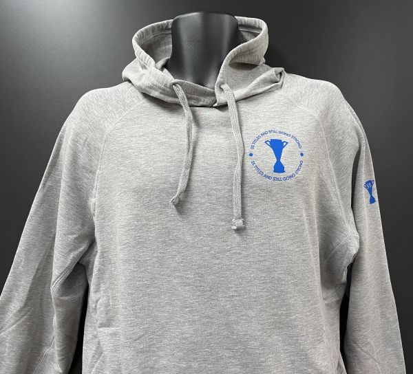 """Still going strong"" Sports Hoodie Grey"
