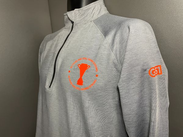 """Still Going Strong"" Modern Drill Top Light Grey/Orange"