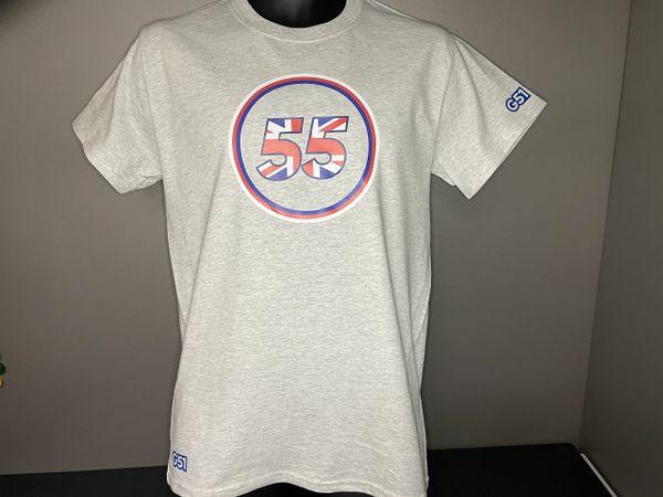 "The ""UJ 55"" Logo T-shirt Light Grey Marl, Navy, Royal or White"