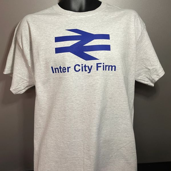 """The """"Away Days"""" Logo T-shirt Grey Marl/Blue Personalised to suit"""