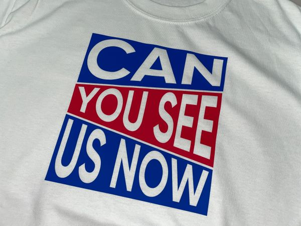 """See us now"" Block T-shirt White"
