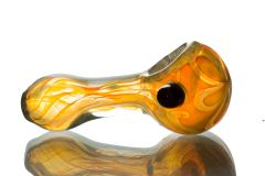 "GP02 - 3"" Color Changing Glass Pipe With See Through Flower Design"