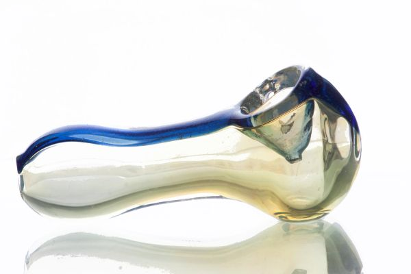 """GP16 - 4"""" Color Changing Glass Pipe With Dichro Stripe"""
