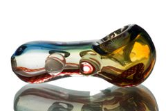 "GP07 - 3"" Glass Pipe With Dichro Stipe and Color Twisted Cane"