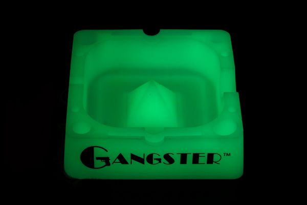 "AT03G - GLOW IN THE DARK Gangster Tap Tray, 5"" Silicone Ashtray"