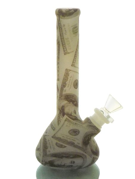 "SWP14B - 7.5"" 100$ BILL PRINT+GLOW IN THE DARK SILICONE BEAKER WATER PIPE"