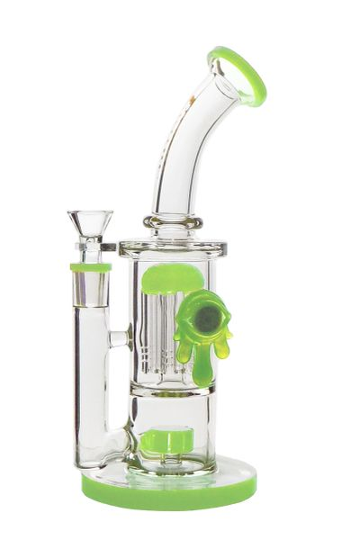 """GG200 - 10"""" showerhead to 8-arm perc waterpipe with dripping eye deco"""