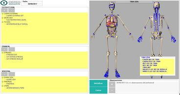 OsteoDiagnostic module where you can select the different osteopathic injuries of a patient